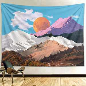 Funeon Sunset Mountain Peak Tapestry Wall Hanging Small Nature Blue Sky Wall Tapestry for Bedroom Teen Girls Boys Men 's Dorm Room Indie Room Wall Decor College Tapestries Aesthetic 51x60 inches