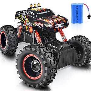 Remote Control Truck, RC Car 1: 12 Scale RC Truck 2.4Ghz Radio Remote Control Car RC Monster Vehicle Truck Crawler 4WD Off Road for Boys (Orange)