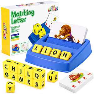 LET'S GO! Matching Letter Game for Kids Learning Toys for 3-8 Boys Girls Reading Games for Kids Spelling Games for Kids Ages 3-8 Educational Toys for 3-8 Year Olds Alphabet Flash Cards, Blue