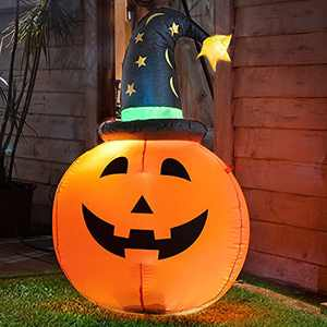 Halloween Inflatable Pumpkin with Witch Hat 3.5FT Indoor Outdoor Decorations with Built-in LED Lights