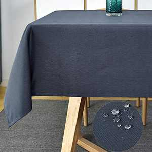 "Rectangle Tablecloths-Swirl Design Tablecloth Shrink Proof Table Cover Dust-Proof Table Cloth Stain Resistant Tabletop for Outdoor and Indoor Use (Rectangular/Oblong, 60"" x 84"" (6-8 Seats),Navy Blue)"