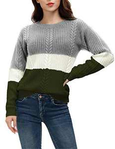 Women's Crew Neck Striped Color Block Casual Loose Knitted Pullover Sweater Tops Grey Army Green S
