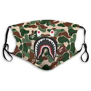 Men's Women's Face Protective Balaclava Mouth Cover with 2 Filter Windproof Dustproof Adjustable Mask Elastic Strap Bape Camo Blood Shark