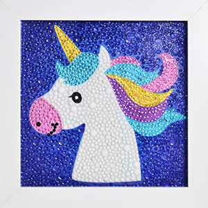 ZHSHERLI Easy 5D Diamond Painting Kit for Kids, with Wooden Frame, Full Drill Painting by Number Kits for Home Wall Decor (Unicorn )