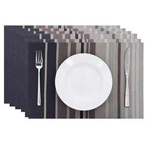 Leetaltree Placemats, 18''x12'' Vinyl Woven Insulation Anti-Skid Placemat Washable Table Mats Set (Black-Stripes 6Pcs)
