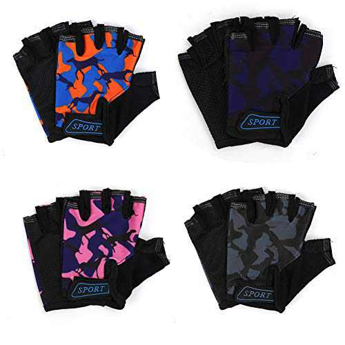 Freehawk Kids Cycling Gloves,Non-Slip Ultrathin Children Half Finger Bicycle Cycling Breathable Gloves Roller-Skating Gloves for Fishing, Cycling, Roller Skating and Climbing (4PCS Pattern-Animal)