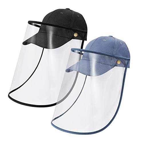 A Set of Outdoor Hats for Kids Sunburn Proof with Detachable Visor 2 Pack Black and Blue