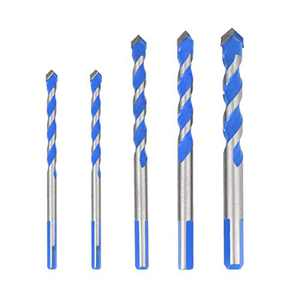 DoreenBow 5pcs Blue Drill Bit Ultimate Punching Drill Bits Set(6/6/8/10/12mm)Triangular-Overlord Handle Multifunctional Drill Bits for Tile, Glass, Hard Plastic, Cement Concrete, Brick Walls