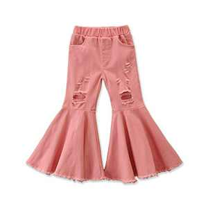 Specialcal Toddler Little Kid Girls Denim Jeans Bell Bottom Flare Pants Leggings Trousers (4-5Y, Pink Flare Jeans Denim Pants)
