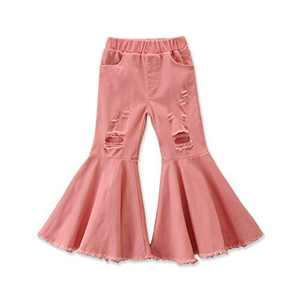 Specialcal Toddler Little Kid Girls Denim Jeans Bell Bottom Flare Pants Leggings Trousers (3-4Y, Pink Flare Jeans Denim Pants)