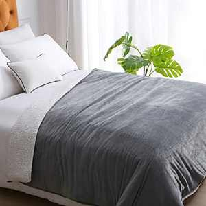 """Weighted Idea Weighted Blanket Queen Size 15 Pounds 60"""" x 80"""" with Sherpa & Minky Removable Duvet Cover for Adults (Dark Grey, Comfortable Fabric)"""