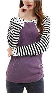 Women's Tunic Top Polka Dots Shirt Striped Fall Soft Long Sleeve Casual Crew Neck Tunic Tops