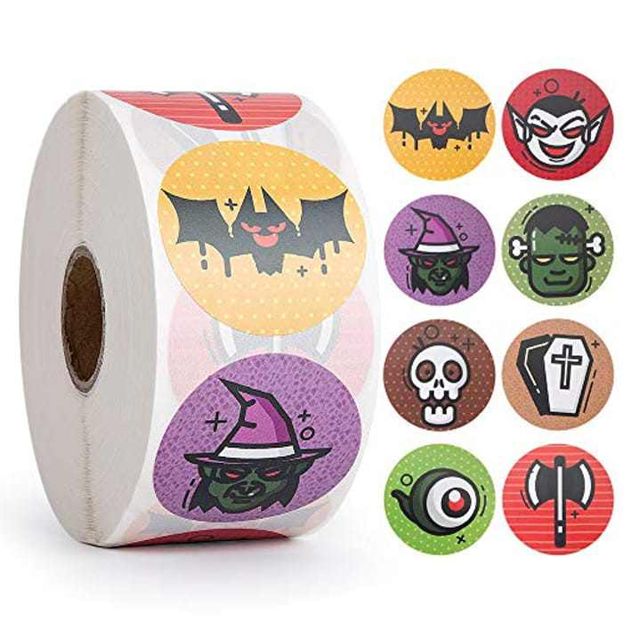 1000pcs Halloween Stickers Party Pack, Non-Toxic Stickers for Kids, Witch, Bat for Halloween Party Decorations, Halloween Favors for Boy and Girls