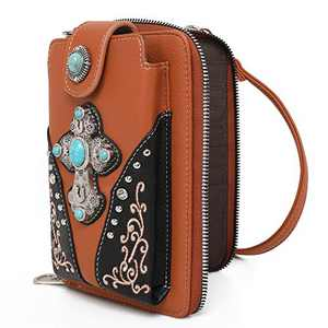 Montana West Crossbody Cell Phone Purse For Women Western Style Phone Bags Travel Size With Strap MWUSA-PHD-112BR