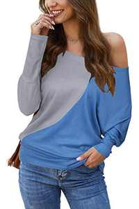 Odosalii Women's Off Shoulder Top Batwing Sleeve Waffle Knit Shirt Plain Pullover Casual Tops (2-Grey and Blue, S)