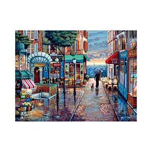 DIY 5D Walk in the Rain Diamond Painting Kits for Adult Painting by Number Kit Round Drill Embroidery Cross Stitch oil painting Diamond Painting Set for Indoor Wall Decoration Gifts Arts and Crafts