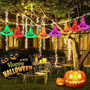 Harmonic Halloween Decorations Outdoor, Halloween Witch Hats with 32.8ft String Lights,Battery Powered String Light,Halloween Decorations for Outdoor, Garden,Indoor,Yard,Tree,Party(8 Pack)