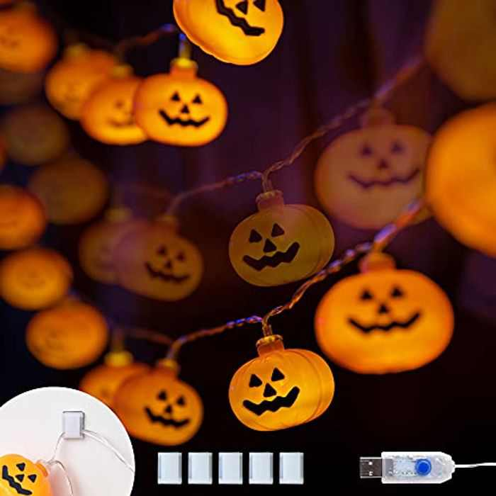 Halloween Lights String 40 LED 5.4M USB Powered Pumpkin Lights with 8 Lighting Modes Holiday Decorations