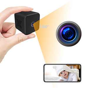 Mini Camera Full HD WiFi Camera, Nanny Cam with Night Vision Security Surveillance Camera with Phone App for Indoor/Office, 32GB SD Memory Card