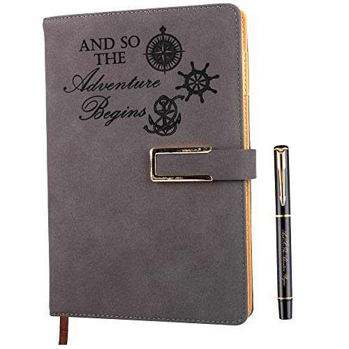 Squared Grid Paper Notebook Graph Ruled Hardcover Refillable Writing Journal A5 Faux Leather 200 Pages Thick Paper-100gsm with Magnetic Buckle + Pen Loop (Adventure - Coffee)