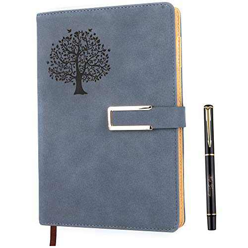 Tree of Life Graph Paper Notebook, Refillable Engineering Grid Writing Journal A5 Faux Leather 200 Pages Thick Paper-100gsm with Pen & Magnetic Buckle (Tree of Life - Blue)