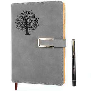 Tree of Life Dotted Bullet Grid Journal - Dot Grid Hardcover Refillable Writing Notebook A5 Faux Leather 200 Pages Thick Paper-100gsm with Pen & Magnetic Buckle (Tree of Life - Grey)