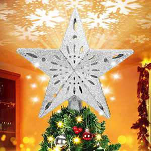 BATTOP Christmas Tree Topper,Christmas Tree Star Topper Lighted with White Rotating Snowflake Projector,3D Hollow Glitter Lighted Silver Tree Topper for Christmas Tree Decorations