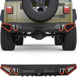 OEDRO Off Road Rear Bumper Combo Compatible with 1987-2006 Jeep Wrangler TJ & YJ, Full Width Back Bumper with Hitch Receiver & 2 x D-Rings, Textured Black