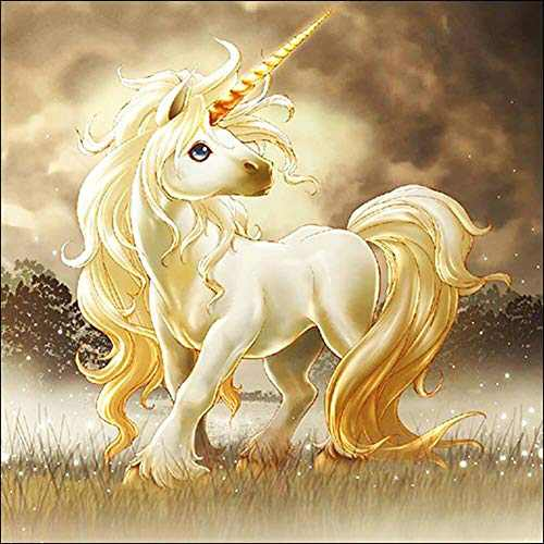 Gold Unicorn 5D Diamond Painting Kits Full Drill DIY Diamond Painting by Number Kit Crystal Rhinestone Embroidery Cross Stitch Arts Craft for Home Wall Decor Gifts