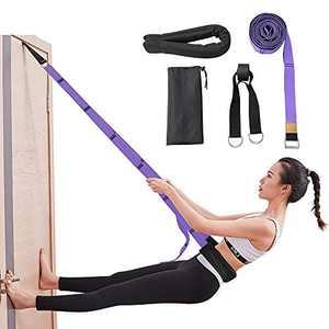 Diamerd Leg Stretcher Yoga Strap Door Flexibility Trainer Backbend Assist Pilates Equipment Double Layer Premium Fabrics High Security for Yoga Dance Beginners Instructions Included (Purple)…