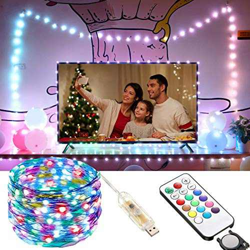 Fairy String Lights USB Remote Control, 33ft 100 LED Soft Bright Color Changing Strip String Lights with Timing Function for Indoor Outdoor Bedroom Patio Wedding Party Backgroud Lighting Decor