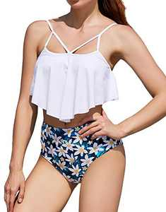 cindyouth Swimsuit for Women High Waisted 2 Pieces Ruffled Flounce Bikini Set Swimwear Bathing Suit Tankini S-XXL White