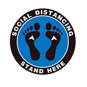 Ksamor Social Distancing Floor Decals 10 Pack- Stand Here Floor Sign Markers Waterproof 6 Feet Apart Floor Stickers for Crowd Control, Pharmacy, Large Bank, Supermarket, Library, Stores, Schools