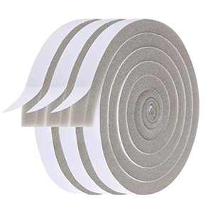Adhesive Foam Seal Tape-3 Rolls, 1/2 Inch Wide X 3/8 Inch Thick Total 20 Feet Long, Weather Stripping for Door and Window Insulation, Soundproof, Weatherstrip (6.5ft x 3 Rolls)