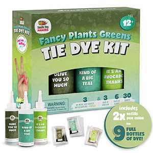 Teal & Green Tie Dye Colors in Fancy Plants Greens Tie Dye Kit (Tye Dye Kit). Custom Clothing Dye with 6 Refills for Multiple Projects, Soda Ash, Ties, Free Tie Dye Guide DIY Tye Dye Fashion