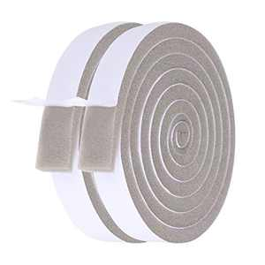 Foam Weather Stripping-2 Rolls, 1 Inch Wide X 3/8 Inch Thick Total 13 Feet Long, High Resilience Air Conditioner Foam Insulating Strip Open-Cell Foam Tape for Face Shield's Headband (6.5ft x 2 Rolls)