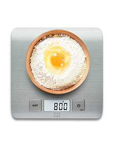FiveFine Digital Food Kitchen Scale, Multifunction Big Food Scale, Weight Grams and oz for Cooking Baking, 1g/0.1oz Precise Graduation, Max 11Lb/5Kg, Easy Clean Stainless Steel (Batteries Included)