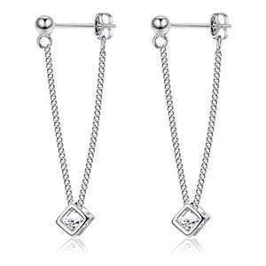 Sllaiss Sterling Silver Halo Dangle Earrings for Women Cute Dangle Earrings Geometry 6MM Fine Jewelry Stones Cube Dangle Earrings