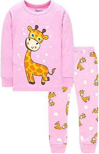 Little Girls Christmas Pajamas School Pjs Kids Giraffe Sleepwear Cotton Jammies Size 3
