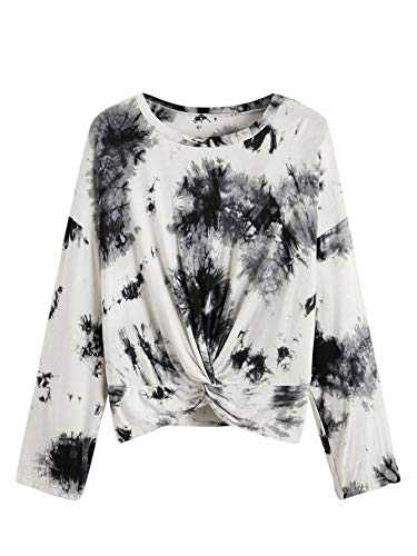 Romwe Women's Plus Size Tie Dye Twist Front Long Sleeve Casual Basic T-Shirt Tops Tee Black&White 2XL