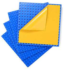 """Self-Adhesive Baseplates Compatible with DUPLO, Peel-and-Stick Baseplate for DIY Play Table or Wall - 4 Pack (10"""" x 10"""") (Blue)"""