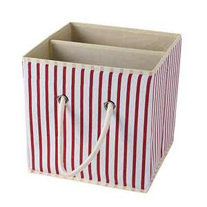 """fuxi 11"""" Cube Toy Storage Bins Basket with Handle Collapsible Toy Organizer for Nursery Storage, Closets & Books, Foldable Gift Baskets (Stripe, 11 inch)"""