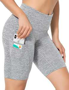ZIIIIIZ High Waist Tummy Control Workout Biker Running Yoga Shorts with Pockets for Women(Hemp Grey-L)