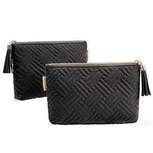 2 Pcs Cosmetic Pouch, BAGSMART Makeup Bag Small Cosmetic Bag for Purse Travel Pouch for Makeup Brushes Lipsticks Electonic Accessories, Black+Black