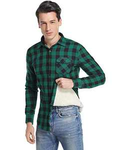 Sykooria Men's Flannel Plaid Shirts Long Sleeve Casual Button Down Slim Shirts with Pocket