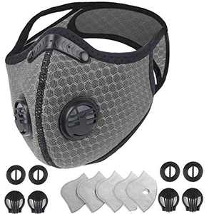 West Biking Mouth Cover with Replacement Filters for Personal Protective Wearing, Resuable & Washable & Adjustable, Replaceable Breathing Activated Carbon for Running Cycling Outdoor Activities