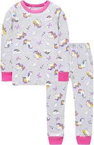 Grey Unicorn Pajamas Girls Baby Kids Horse Clothes Children School Jammies Set 10t