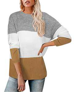 Newshows Women's Knit Long Sleeve Striped Color Block Loose Casual Pullover Sweater Jumper Tops(Grey/White/Brown,Medium)