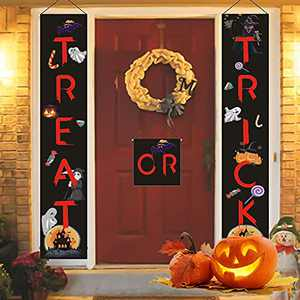 Halloween Trick or Treat Banner,Halloween Porch Hanging Banner,3 Colorful Halloween Decorations Outdoor Signs for Home Garden Office Porch Front Door Hanging Decor,Welcome Sign Banner Redghost