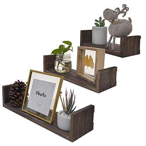 StorageWorks Floating Shelves, Wooden Floating Shelves for Wall, Decorative Floating Shelves Set for Bedroom, Carbonized Black, 3Pcs
